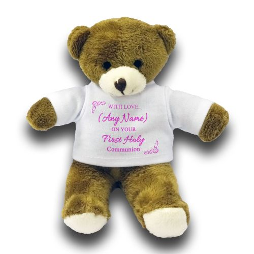 "Personalised Any Name - with Love On Your First Holy Communion Cute Bear Gift 7"" Teddy Bear - Pink"